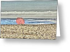 Red Striped Umbrella At The Beach Greeting Card