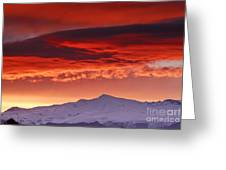 Red Sunrise Over National Park Sierra Nevada Greeting Card