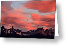 Red Sunset At Torres Del Paine Greeting Card by Arie Arik Chen