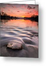 Red Sunset Greeting Card by Davorin Mance
