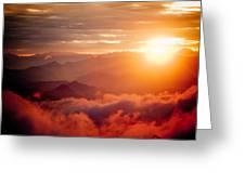 Red Sunset Himalayas Mountain Nepal Greeting Card