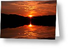 Red Sunset Greeting Card by Jose Lopez