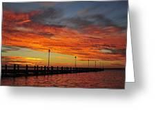 Red Sunset Pier Seaside Nj Greeting Card