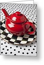 Red Teapot On Checkerboard Plate Greeting Card