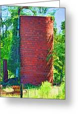 Red Tile Silo Digital Paint Greeting Card