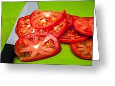 Red Tomato Slices And Knife On Green Chopping Board Greeting Card