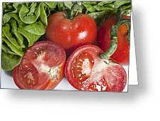 Red Tomatoes And Salade Greeting Card