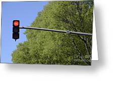 Red Traffic Light By Trees Greeting Card by Sami Sarkis