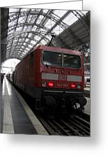 Red Train To The Main Train Station In Frankfurt Am Main Germany Greeting Card