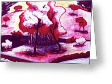 Red Trees In Love Greeting Card