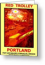 Red Trolley Portland Greeting Card