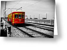Red Trolley Greeting Card
