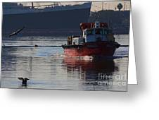 Red Tug Boat Greeting Card