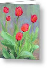 Red Tulips Colorful Painting Of Flowers By K. Joann Russell Greeting Card