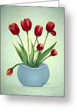 Red Tulips In A Pot Greeting Card