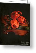 Red Tulips On A Violin Greeting Card