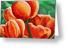 Red Tulips On Green Greeting Card