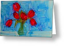 Red Tulips With Blue Background Greeting Card by Patricia Awapara