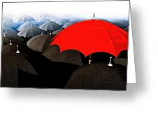 Red Umbrella In The City Greeting Card