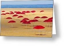Red Umbrellas Greeting Card by Carlos Caetano