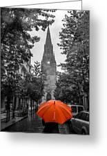 Red Under Rain Greeting Card
