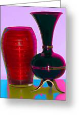 Red Vase And Black Vase Greeting Card by Good Taste Art
