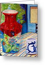 Red Vase And Cup Greeting Card