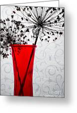Red Vase With Dried Flowers Greeting Card