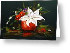 Red Vase With Lily And Pansies Greeting Card
