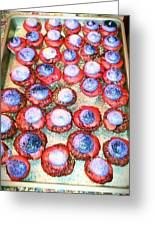 Red Velvet Superbowl Cupcakes Greeting Card by Lexa Newman