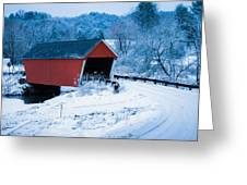 Red Vermont Covered Bridge Greeting Card