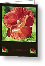 Red Vibrations Poppy Greeting Card