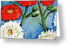 Red White And Blue Flowers Greeting Card