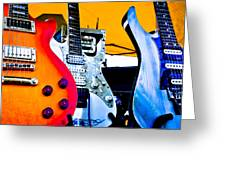 Red White And Blue Guitars Greeting Card
