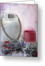 Red White And Blue Greeting Card by Judy Hall-Folde