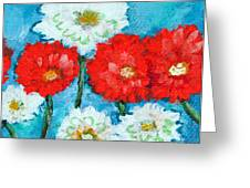 Red White And Blue Zinnia Flowers Greeting Card