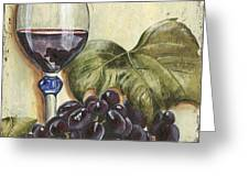 Red Wine And Grape Leaf Greeting Card by Debbie DeWitt