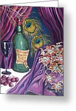 Red Wine And Peacock Feathers Greeting Card