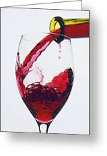 Red Wine Being Poured  Greeting Card