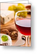 Red Wine With Cheese Greeting Card