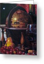 Red Wine With Gold Finch Little Company Greeting Card