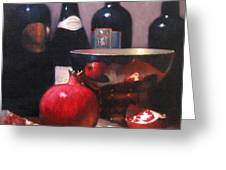 Red Wine With Pomegranates Greeting Card