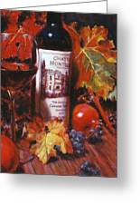 Red Wine With Red Pomergranates Greeting Card