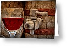 Red Wine With Tapped Keg Greeting Card