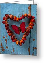 Red Wing Butterfly In Heart Greeting Card by Garry Gay