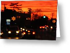 Red Winter Sunset Over Long Island Suburbs Greeting Card