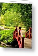 Red Wooden Bridge Greeting Card