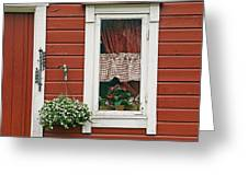 Red Wooden House With Plants In And By Greeting Card