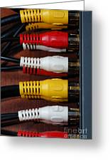 Red Yellow And White Cables Greeting Card