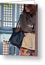 Redhead On Brown Line Greeting Card by Shawn Lyte